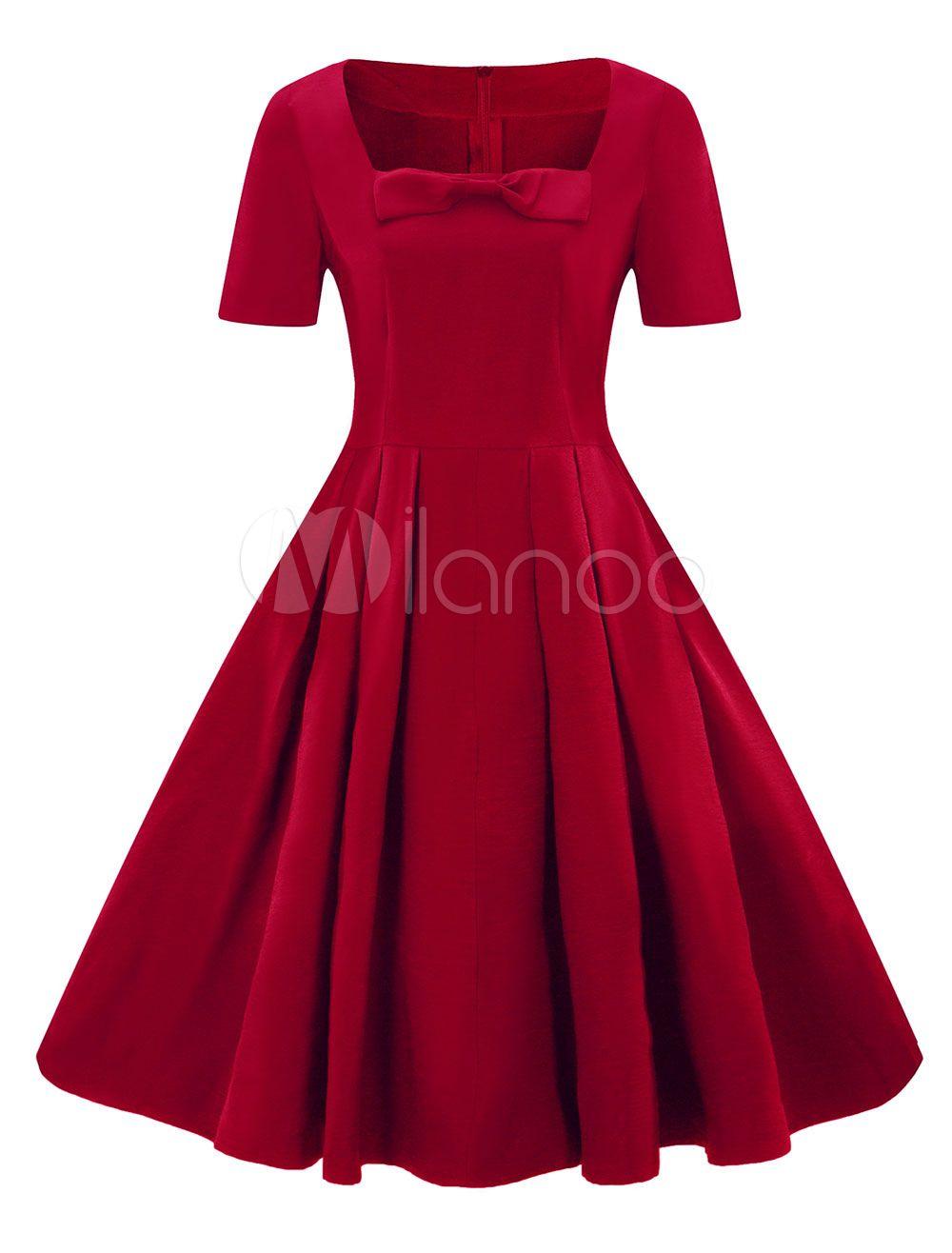 Solid Bow Vintage Retro Women Dress