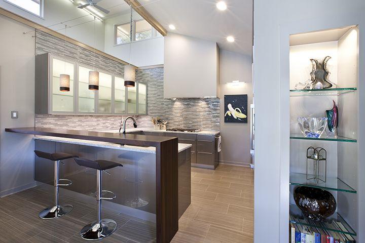 Peruvian Walnut Waterfall Bar Top Designed By La Source For A Modern Kitchen Wood Countertops Wood Bar Top Bar Top