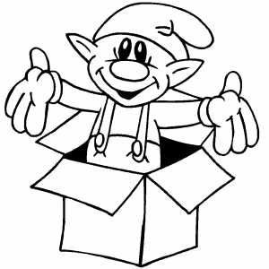 elf in box  printable christmas coloring pages christmas