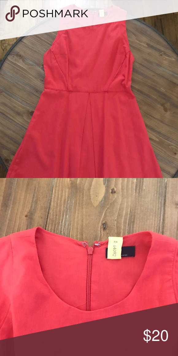 Gap Fit and Flare Linen Dress Only worn once!!!  Beautiful coral color.  Dry Cleaned and ready to go! GAP Dresses