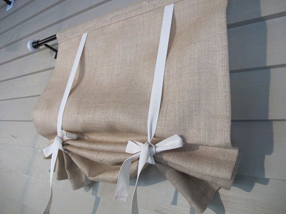 Natural Burlap Fully Lined 36 Inch Long Stage Coach Blind