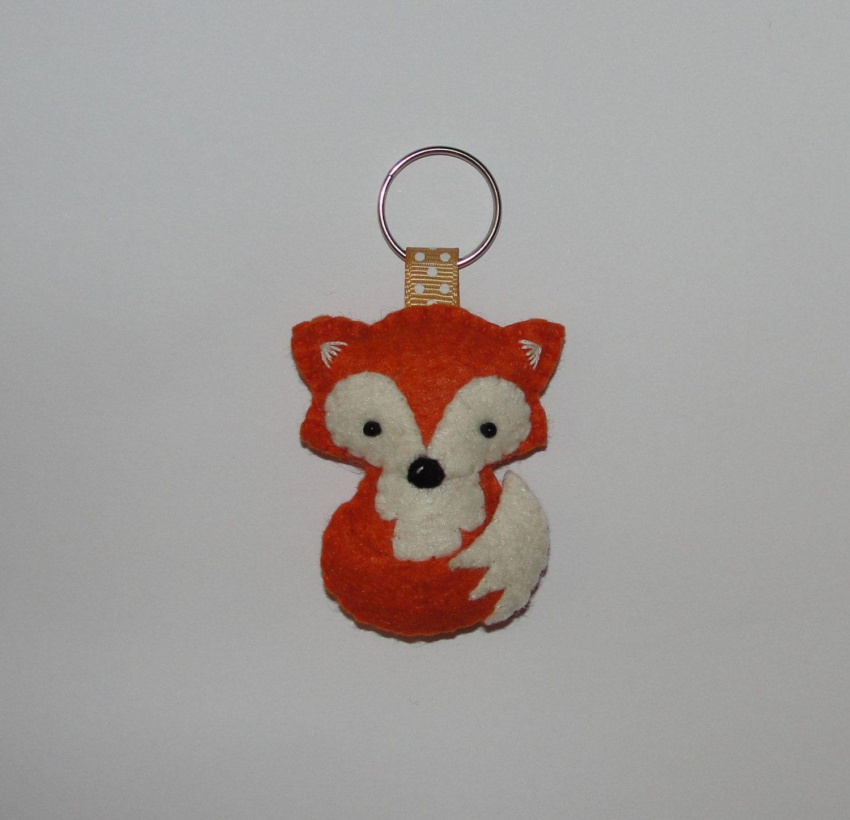 Wool felt ornaments - Wool Felt Fox Keychain Fox Keychain Plush Fox Keyring Keyring Key Holder Gift Bag Bag Charm Birthday Decor Ornament Felt Animal