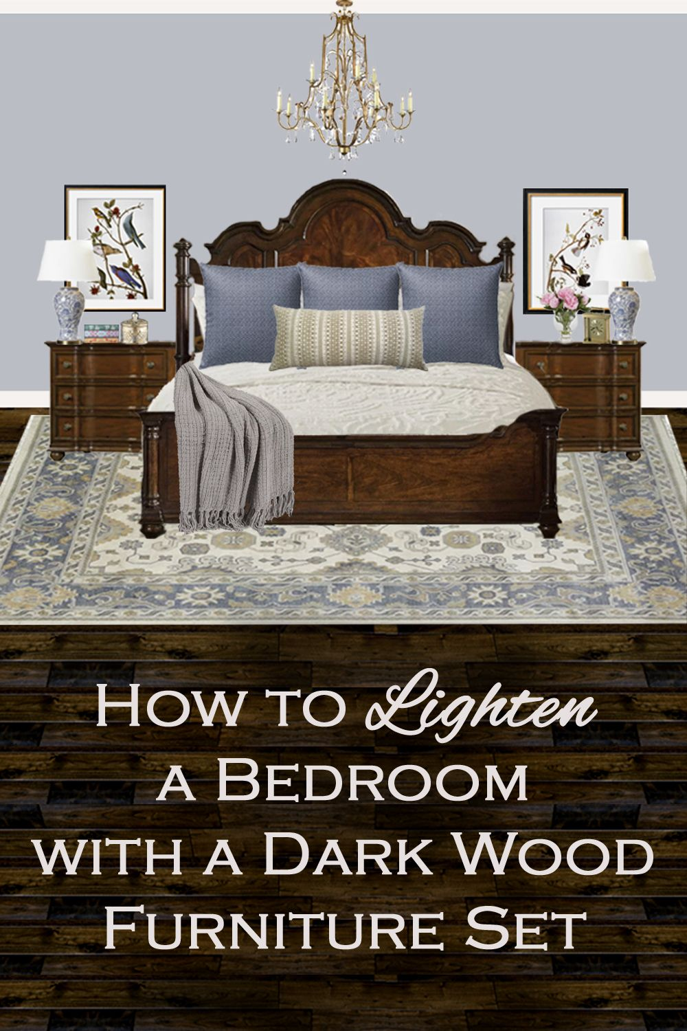 How to lighten a bedroom with a dark wood furniture set in