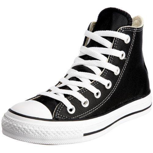 abb8b7b2f32d6 Converse Unisex Chuck Taylor Leather Hi Black Sneaker 8 Men 10 Women ...