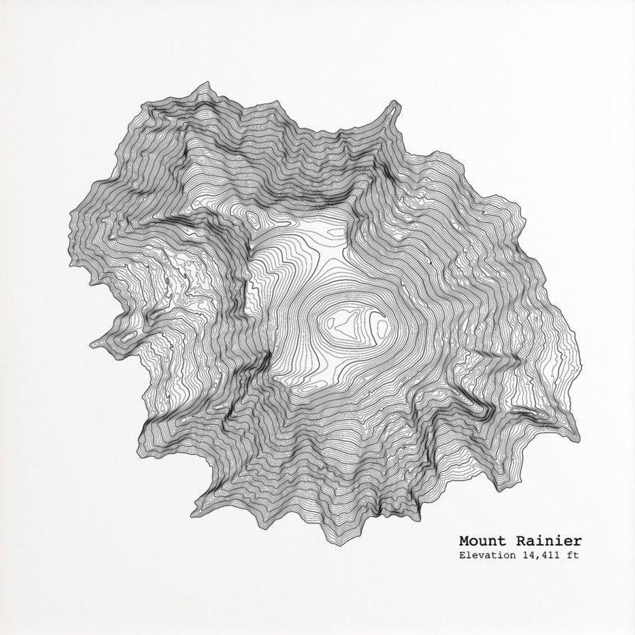 Mt Rainier Topographic Map.Mt Rainier Topographic Map Print Favorite Wedding Gifts