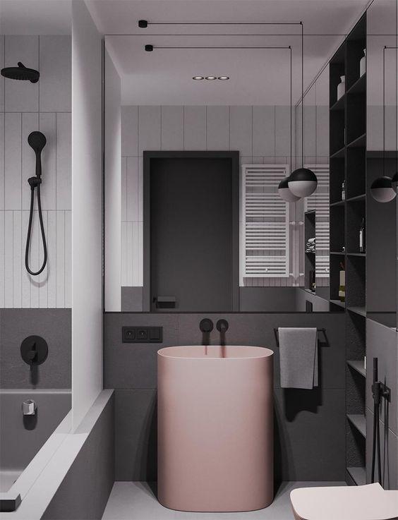 Gris et rose pour une salle de bain so chic | Bathroom en ...