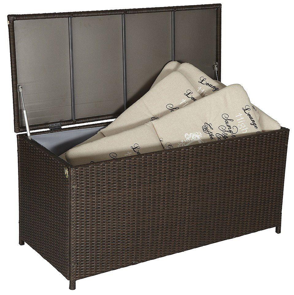 auflagenbox rattan 124x56x60 cm polyrattan braun garten outdoor furniture outdoor