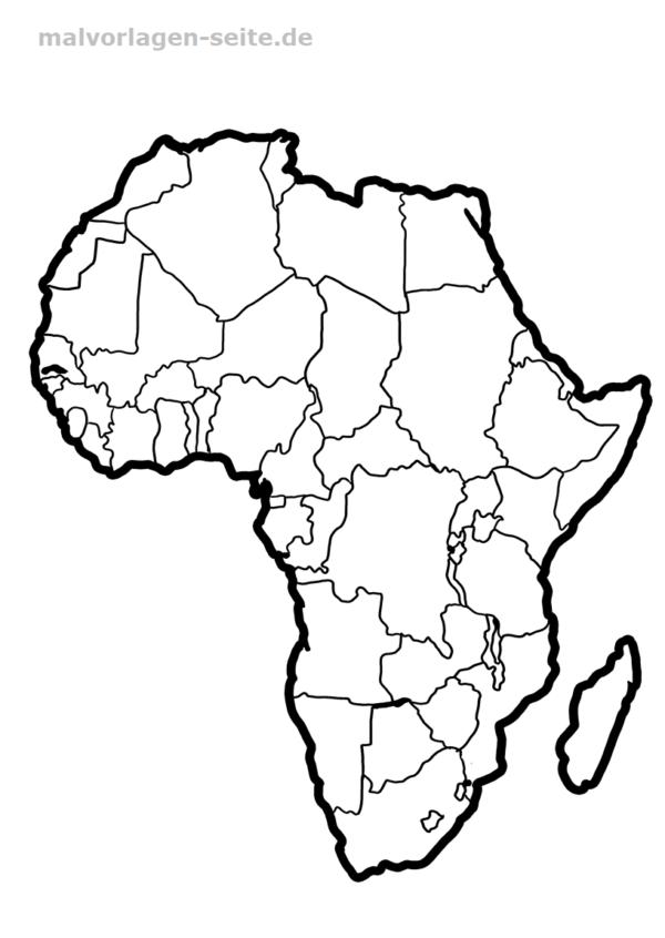 Landkarte Afrika zum Ausmalen und selber Gestalten
