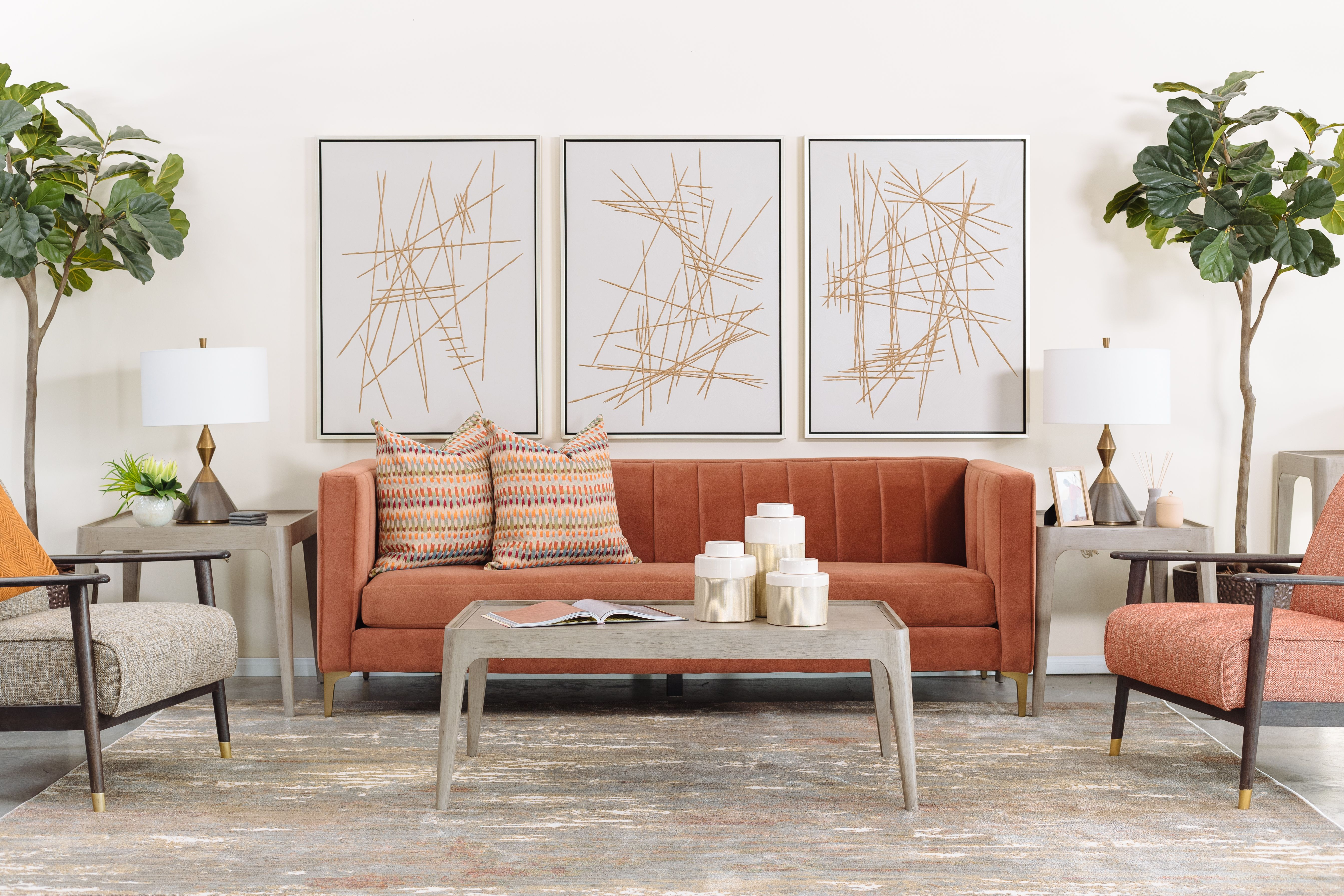 Retro Inspired Looks Image By Mathis Brothers Furniture In 2020 Tufted Sofa Living Room Seating Mid Century Modern Sofa