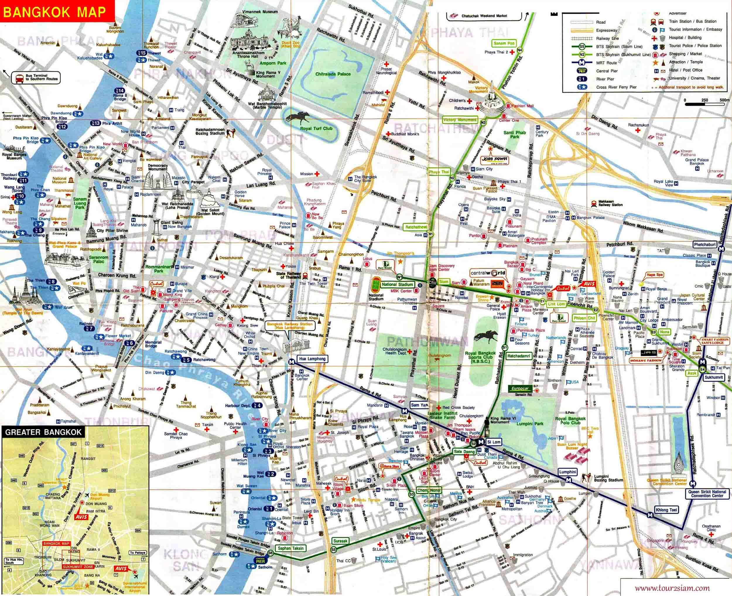 bangkok thailand attractions map – Tourist Attractions Map In Thailand