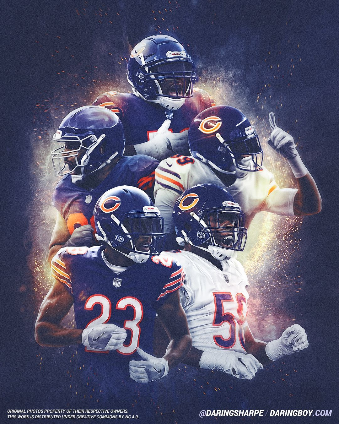 Khalil Mack Eddie Jackson Roquan Smith Kyle Fuller Akiem Hicks Chicago Bears Chicago Bears Wallpaper Chicago Bears Pictures Nfl Bears