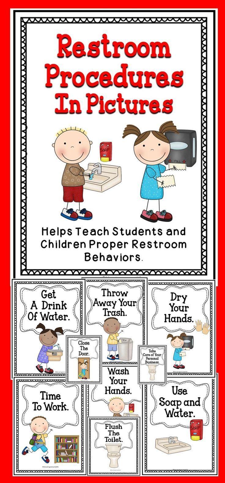 Restroom procedures classroom activities teaching kids - Bathroom procedures for preschool ...