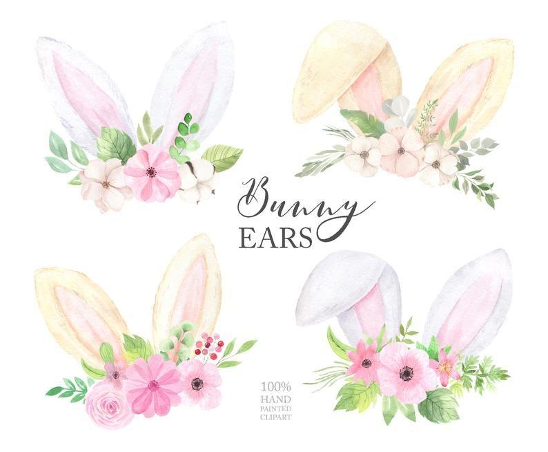 Watercolor Easter Bunny Ears Clipart Hand Painted Spring Holiday Rabbit Ears And Flower Clip Art Baby Happy Easter Floral Set Png 218 Orelhas De Coelho Coelhinho Da Pascoa Fundo De Pascoa