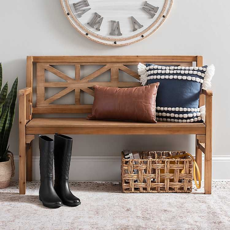 farmhouse storage bench with back