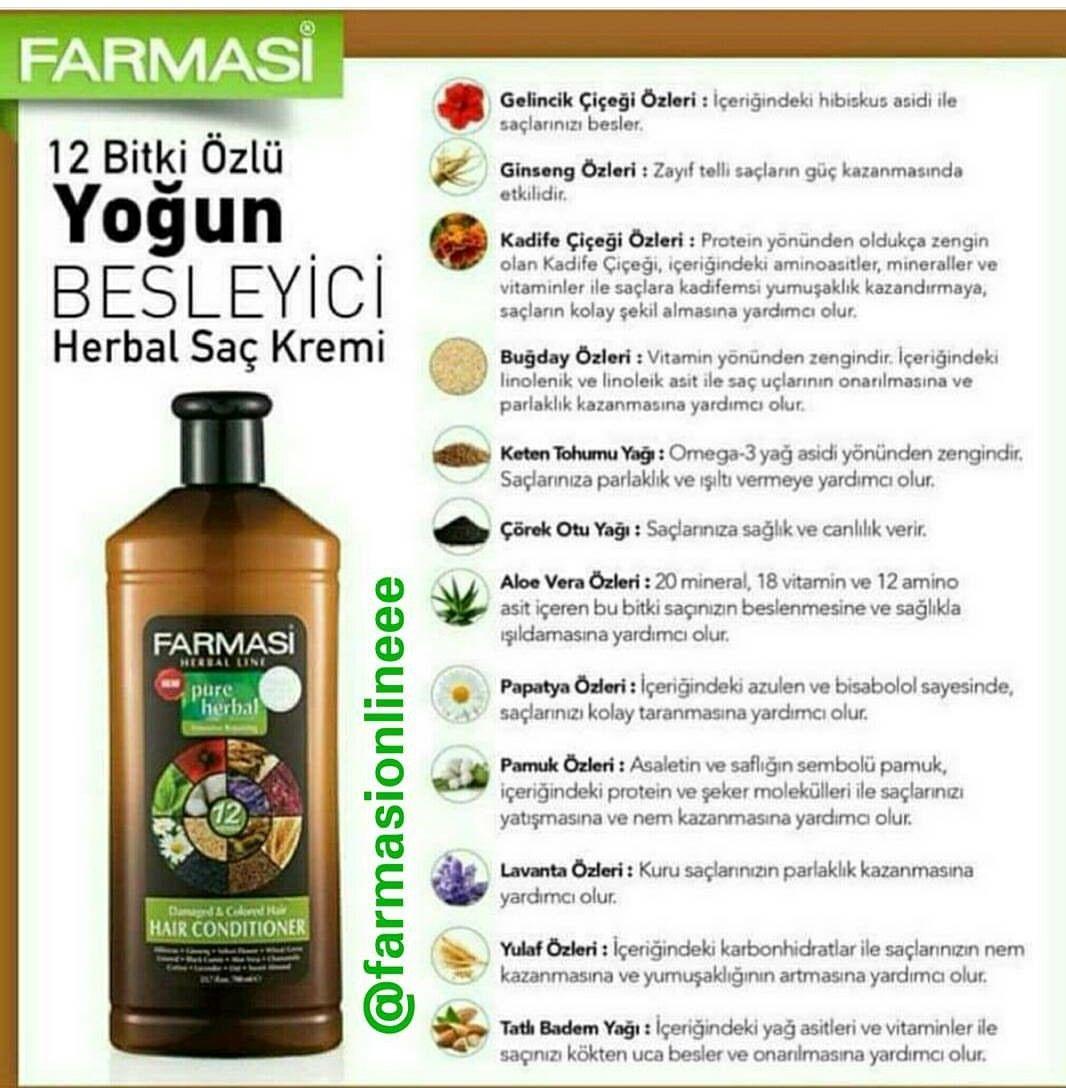 Yogun Besleyici Sac Kremi Farmasi Pure Herbal Hair Conditioner Farmasiofficial Farmasicosmetics Farmasi Sacbakim Sacbakimi Sac Dogal Sac Bakimi Fondoten