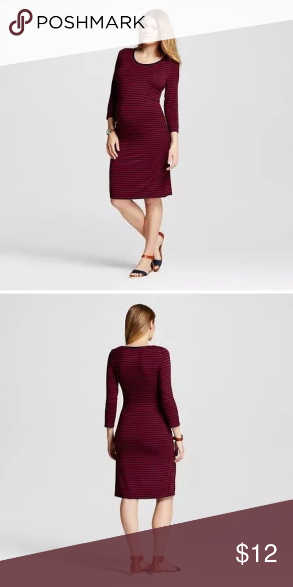 b9dea46ac5d56 Liz Lange Maternity Dress-Medium Maroon and black striped maternity dress.  The brand is Liz Lange for Target. Soft, comfortable and stylish.