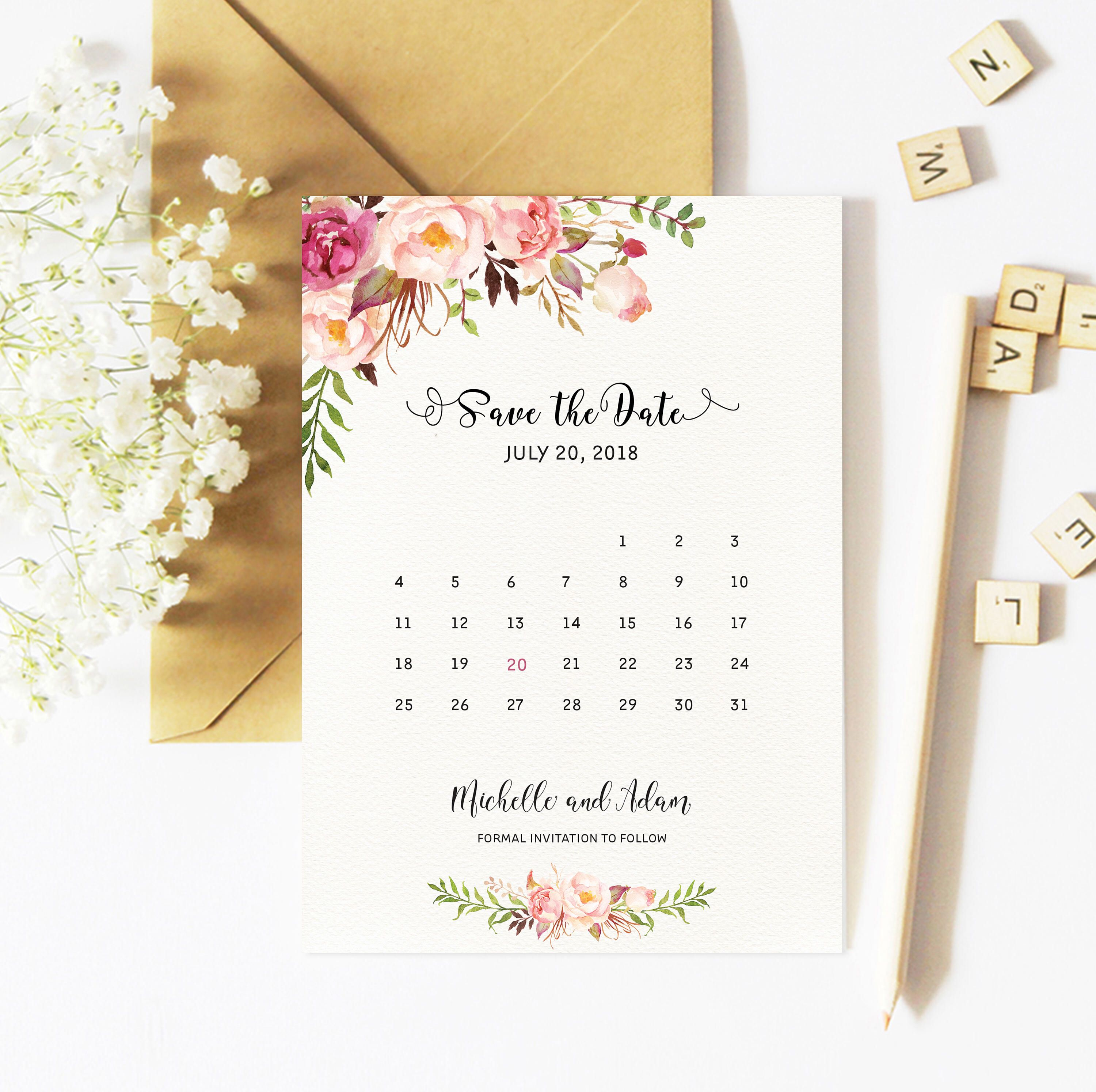 Save The Date Card, Floral, Calendar Save The Date