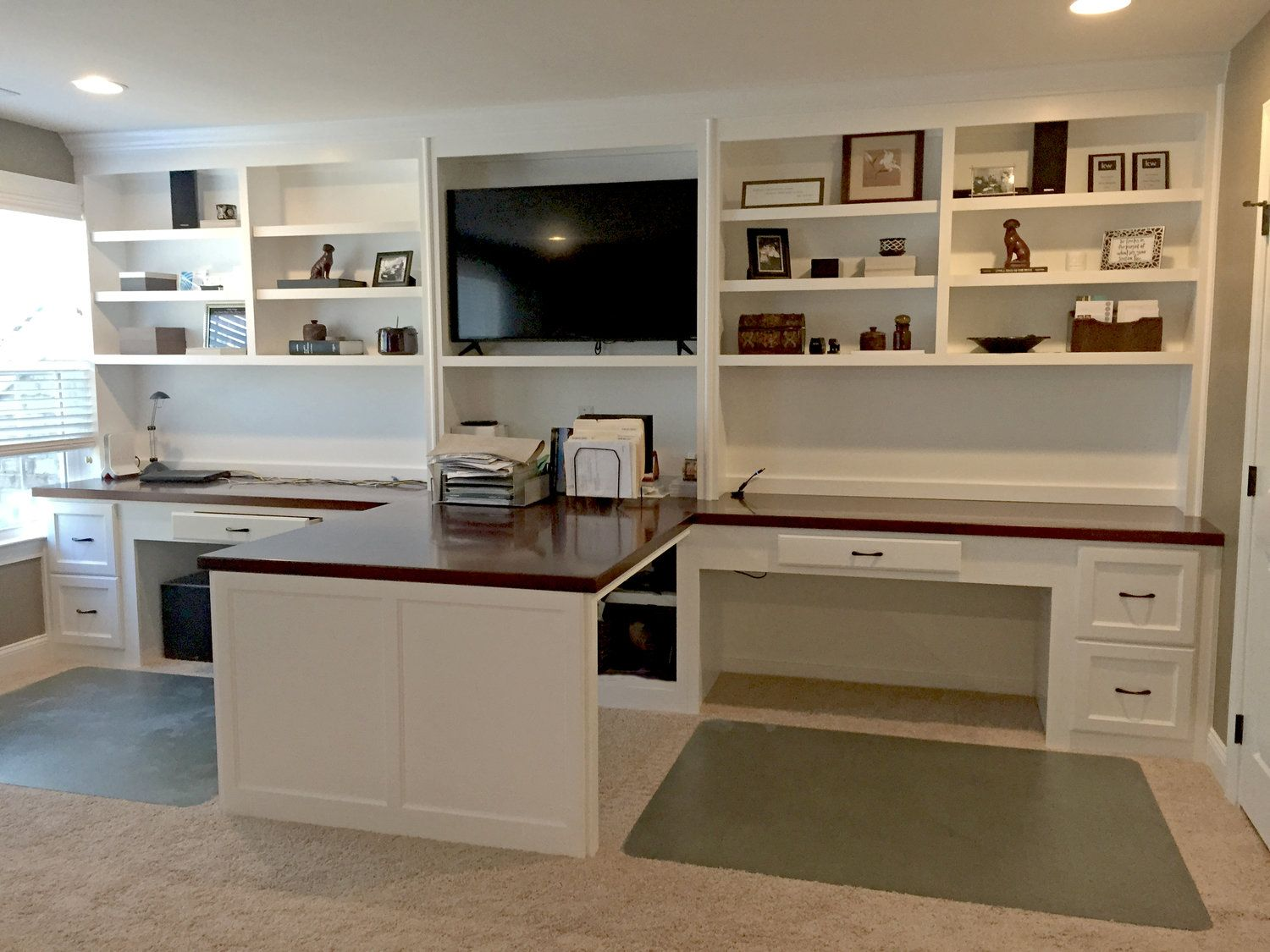 Island Style Custom Desk With Shaker Filing Drawers Stain