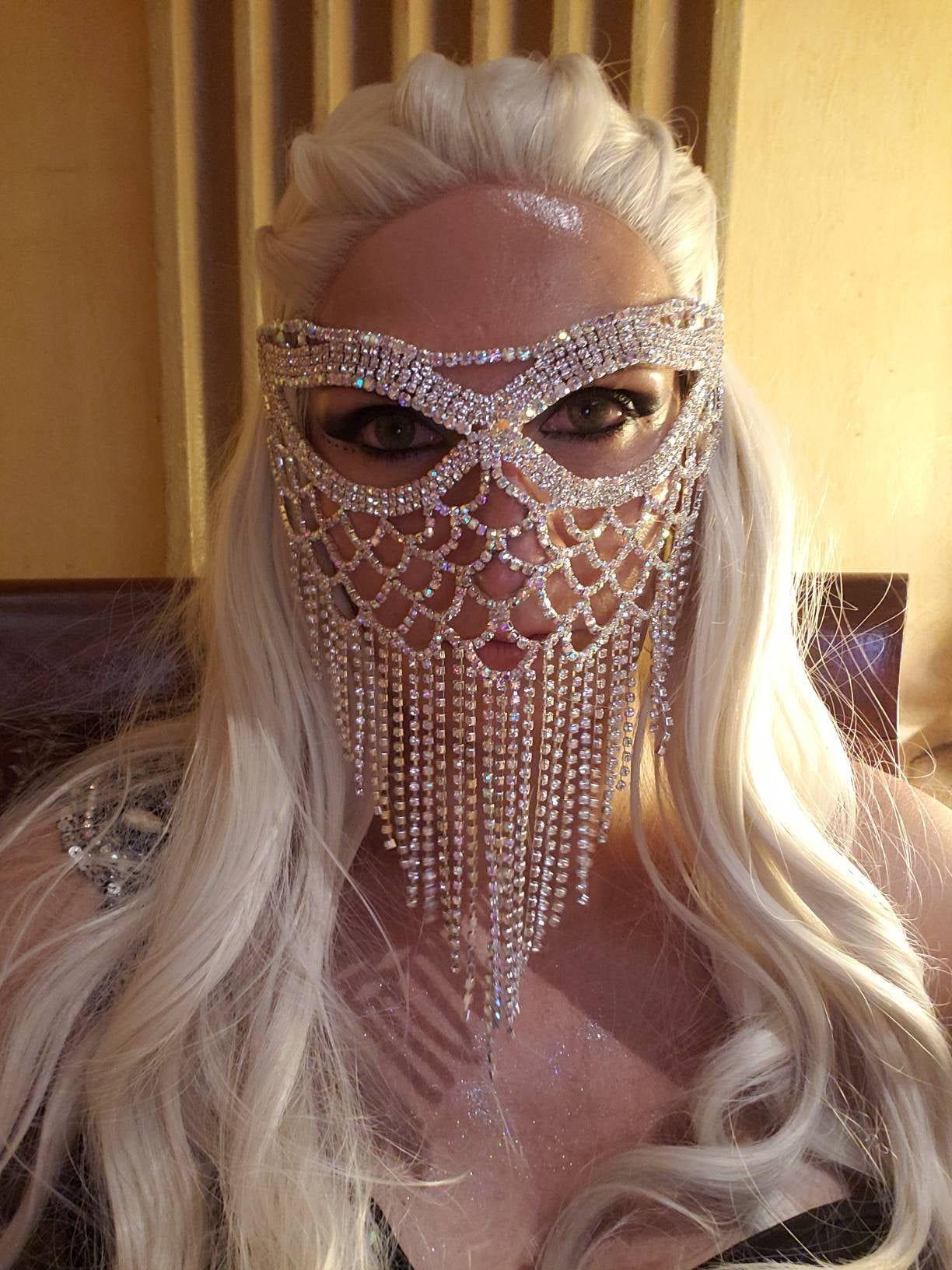 Photo of Silver Rhinestone Mask Prom Mask Masquerade Face Mask Birthday Mask Mardi Gras Mask Wedding mask New Years Eve Bridal Headpiece