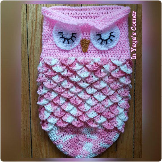 Crochet Baby Owl Cocoon - Baby Sack - Sleeping Owl - Photo Prop ...