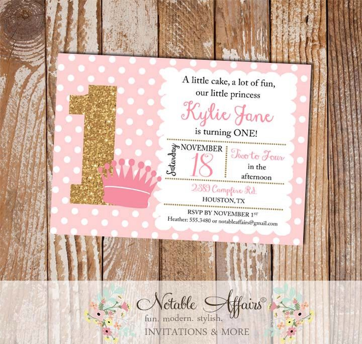Light Pink and Gold Glitter Crown Polka Dots Birthday party ...