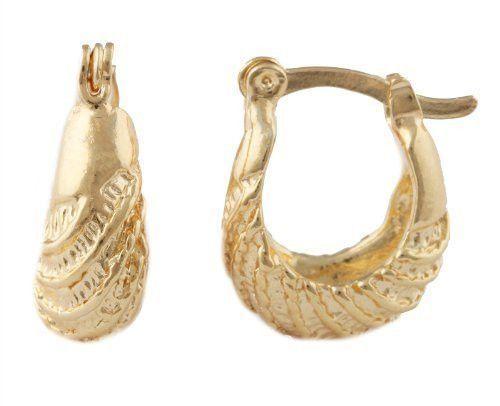 Two Year Warranty Gold Overlay Rope Twist Design 14mm Huggie Earrings