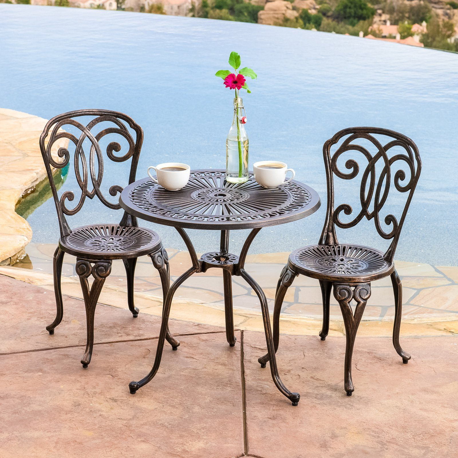 Outdoor best selling home decor furniture ryder aluminum 3 piece round bistro set 238798