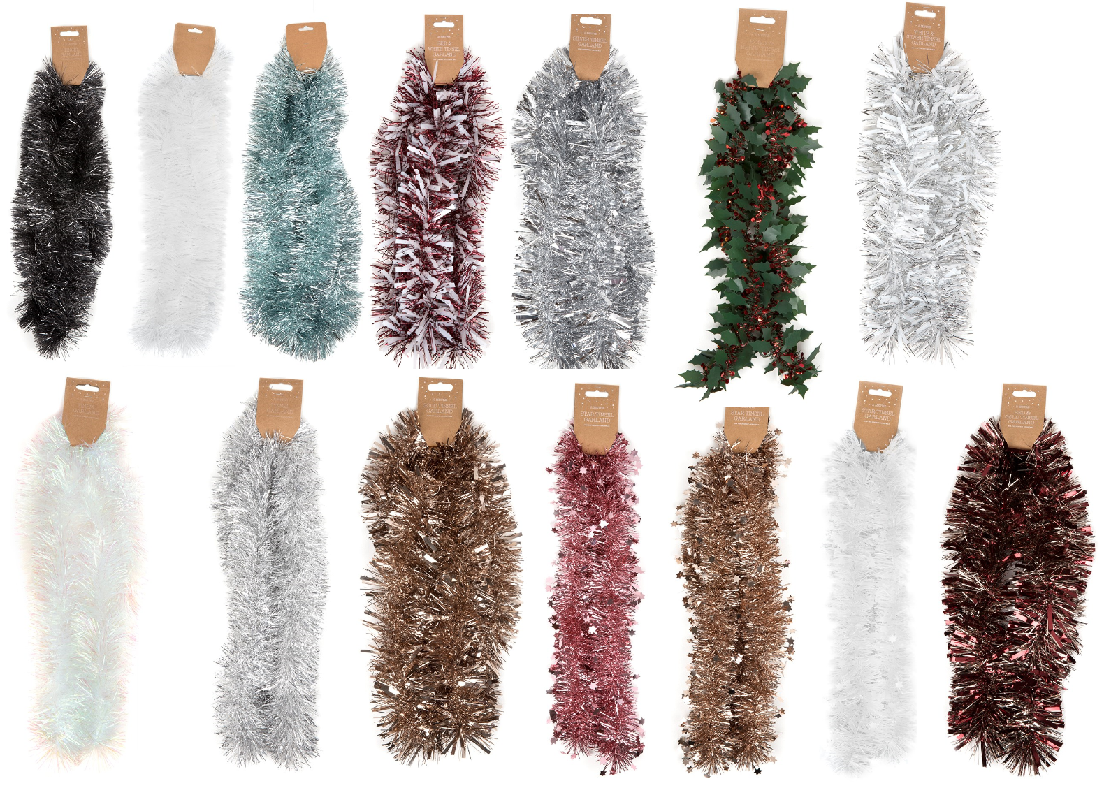 2m Green /& White Chunky Christmas Tinsel Garland Gold OFFER