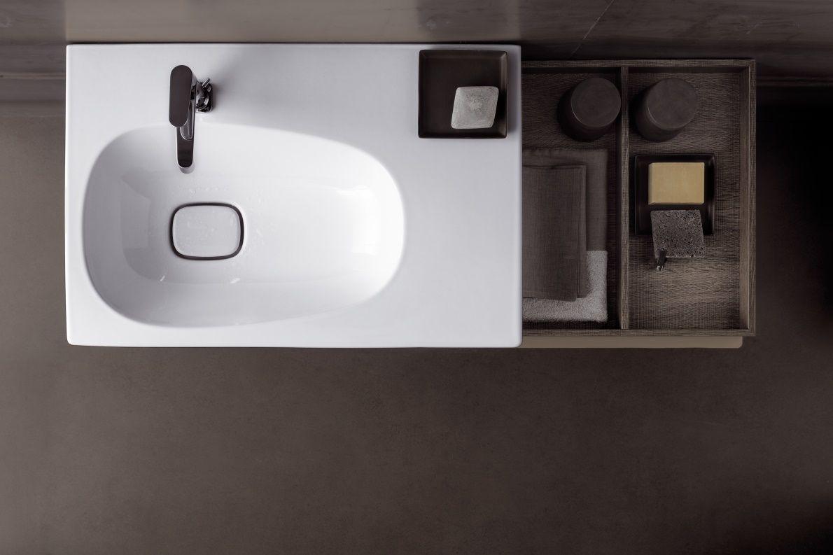 Wastafel Met Onderkast : Wastafel en onderkast voor wastafel met aflegruimte rechts uit de