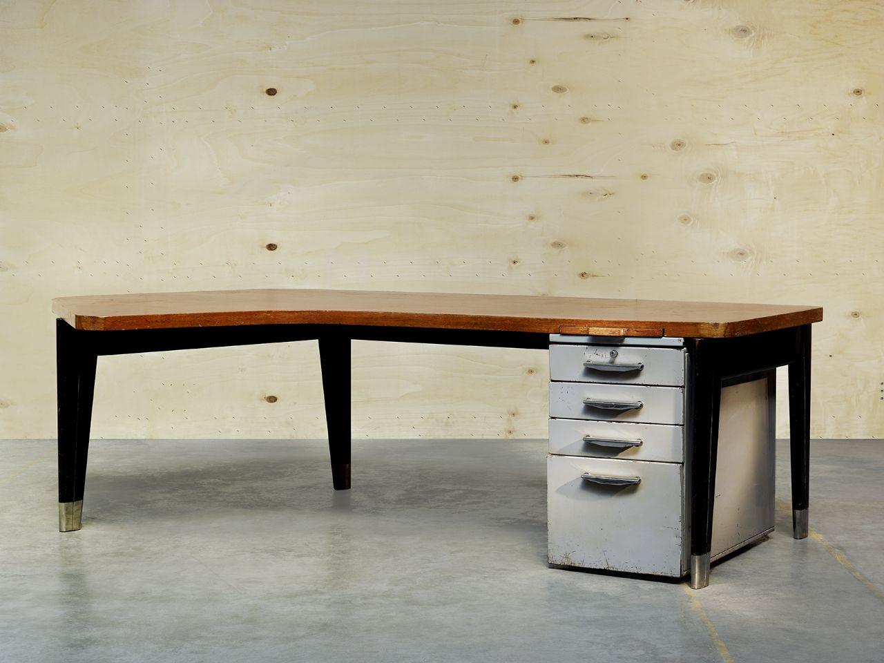 Bureau vintage scandinave forme haricot pieds compas années