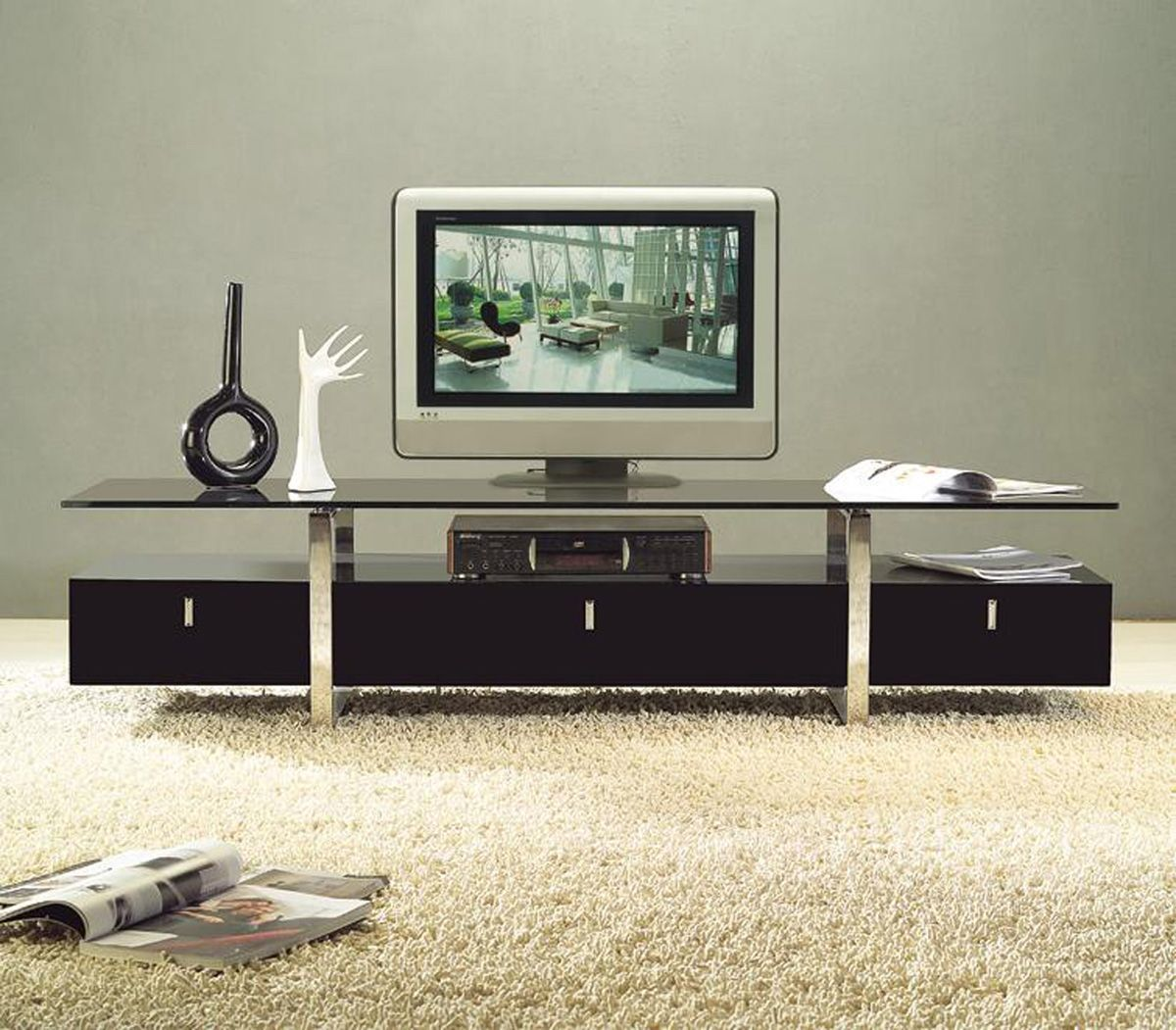 Clear Lined Design Contemporary Brown Color Tv Stand With Glass