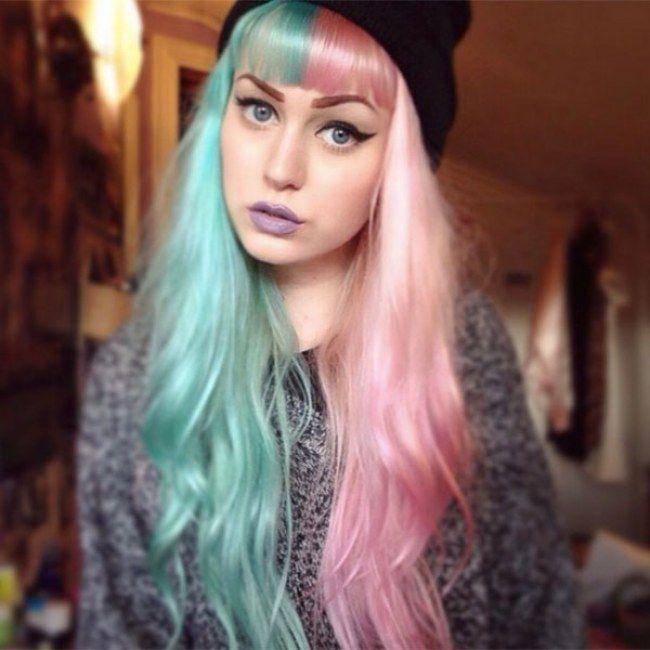 Would You Dye Your Hair Like Cruella De Vil Half And Half Hair Is Happening 669078 W650 Jpg 650 650 Pixels Split Dyed Hair Hair Color Pastel Half And Half Hair