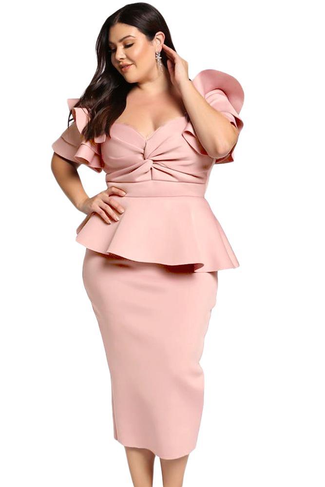 pink plus size tiered sleeve twisted peplum dress coctailkleider