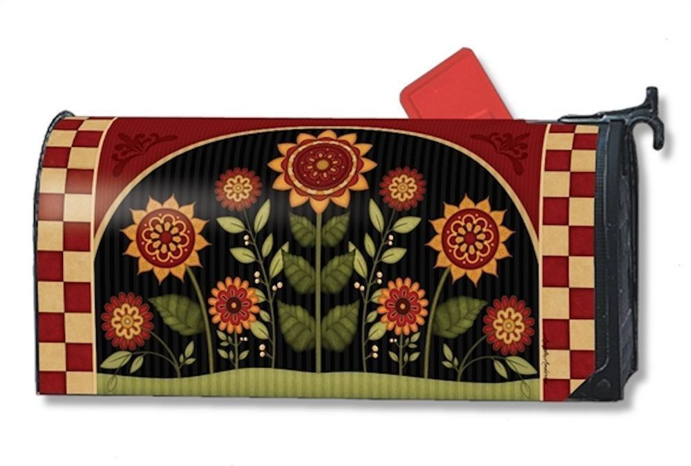 Magnet Works Mailwraps Primitive Sunflowers Original Magnetic Mailbox Wrap Cover #MagnetWorks