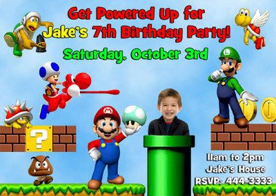 Super Mario Brothers Photo Birthday Party Invitations In 2019