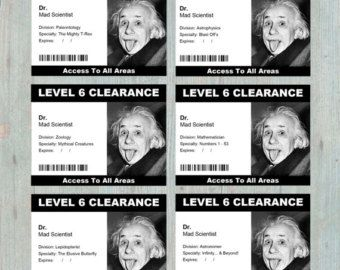 Security Clearance Badge Printable Or Different Designs - Mad scientist name tag template
