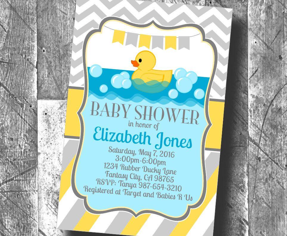 Yellow Grey Boy or Girl Gender Neutral Rubber Duck Baby Shower ...