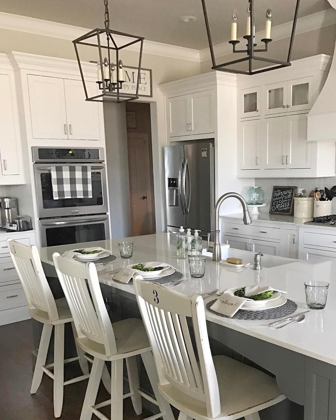 Grey Kitchen And Living Room: The Wall Color Throughout The Main Entry And Living Areas Is Called Agreeable Gray By Sherwin