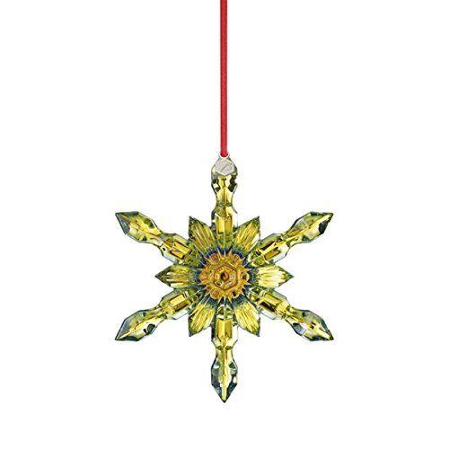 Baccarat Crystal Yellow Snowflake Christmas Ornament