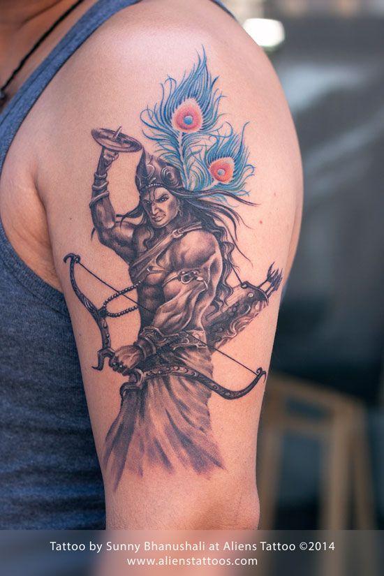 37f3614ec8a12 Warrior Lord Krishna Tattoo | T2 | Krishna tattoo, Hindu tattoos ...