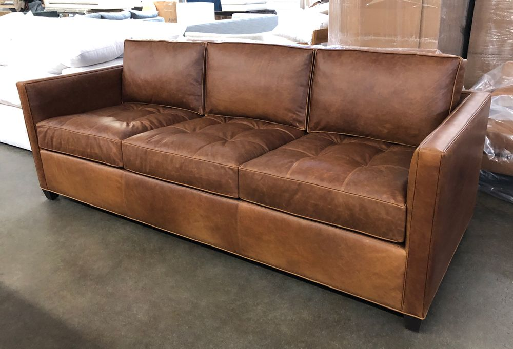 This 8ft Arizona Leather Sofa Looks Incredible In Italian Berkshire Chestnut Leather The Tufted Cushions Pro Chestnut Leather Leather Furniture Leather Sofa