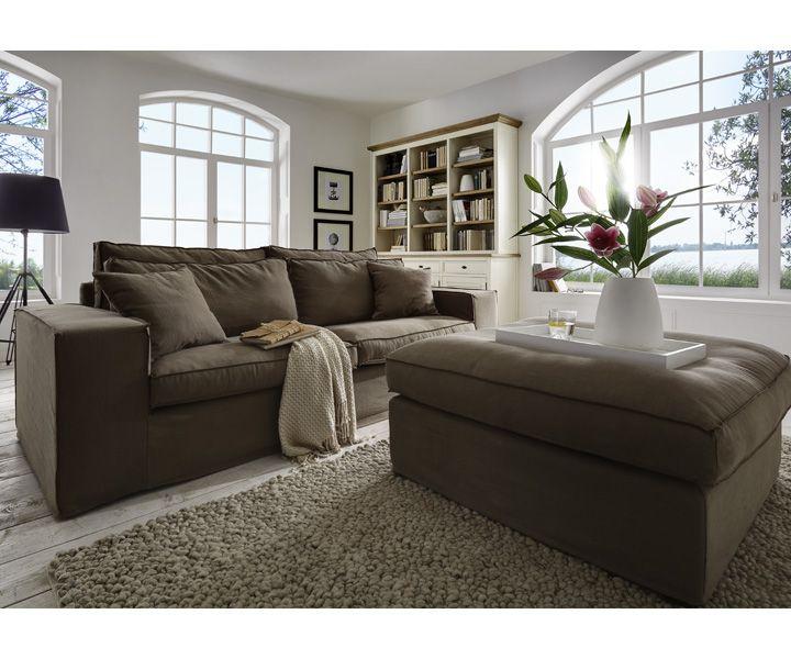 hussen sofa neapel beispielkombination stoff shadow 83 cacao landhaus stil einrichtung. Black Bedroom Furniture Sets. Home Design Ideas