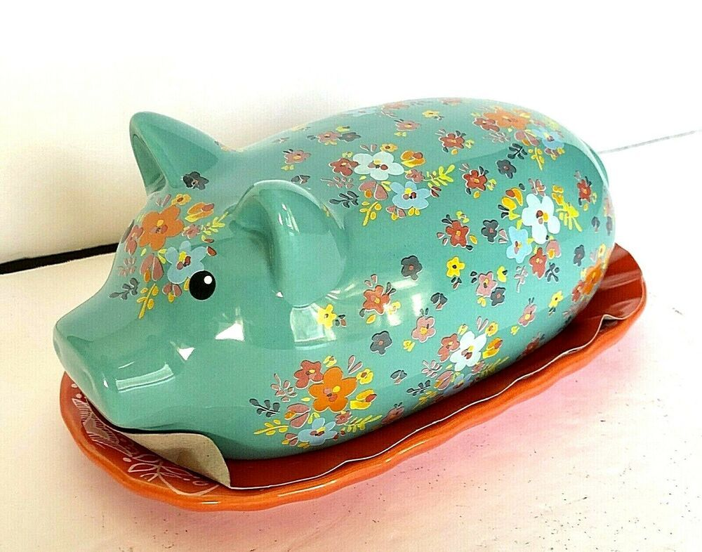 Pig Butter Dish Farmhouse Style Kitchen Decor Teal Red Floral 7 Long New Gibsoneverday Pig Kitchen Decor Farmhouse Style Kitchen Decor Pig Decor