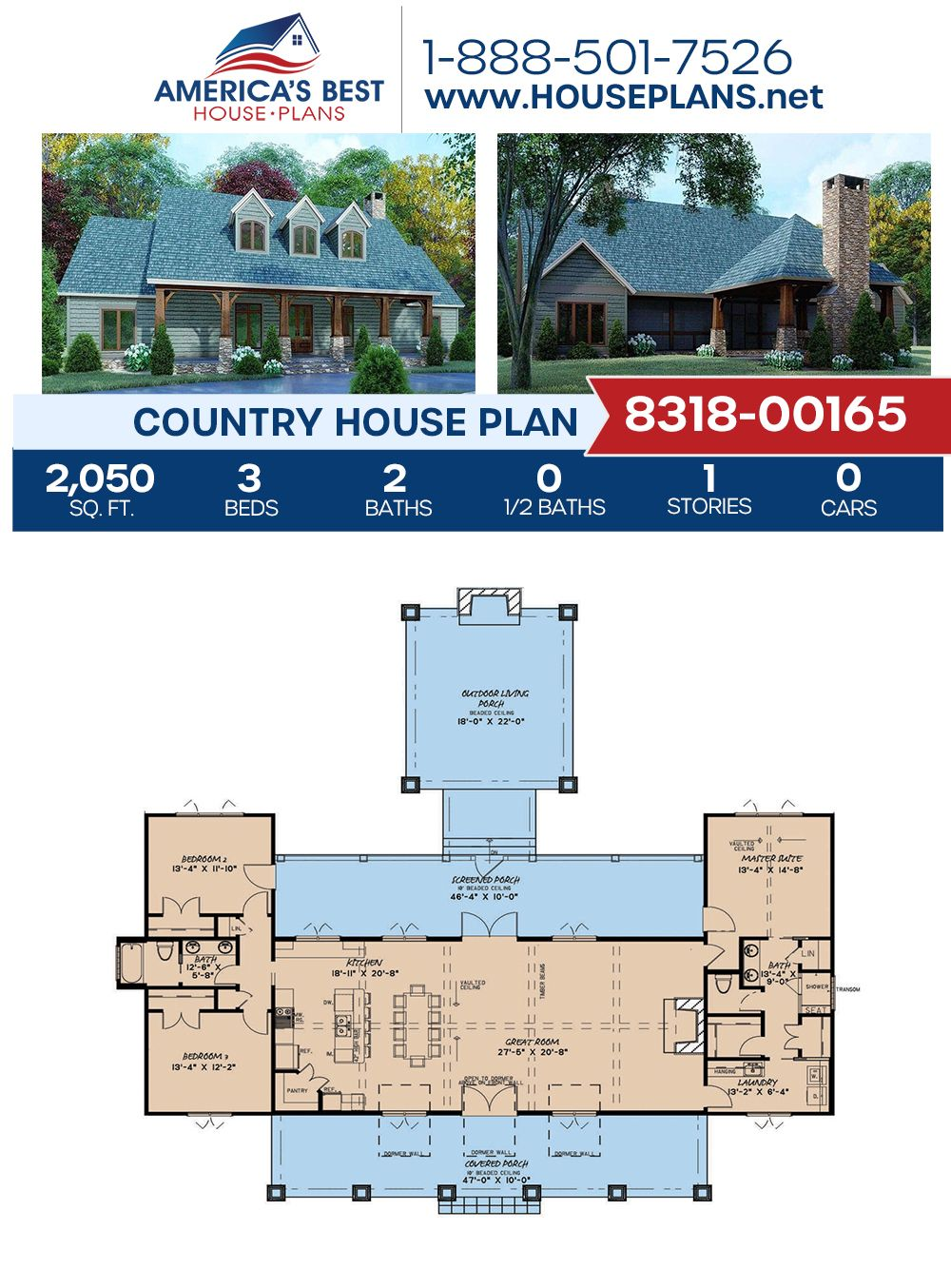 Get to know this 2,050 sq. ft. Country home design. Plan 8318-00165 features 3 bedrooms, 2 bathrooms, split bedrooms, a kitchen island, an open floor plan, and a screened-in porch. #countryhome #countryhouse #openfloorplan #architecture #houseplans #housedesign #homedesign #homedesigns #architecturalplans #newconstruction #floorplans #dreamhome #dreamhouseplans #abhouseplans #besthouseplans #newhome #newhouse #homesweethome #buildingahome #buildahome #residentialplans #residentialhome