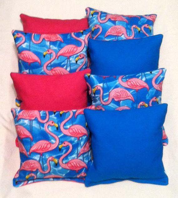 Corn Hole Bags Pink Flamingo Set Of 8 Flamingo