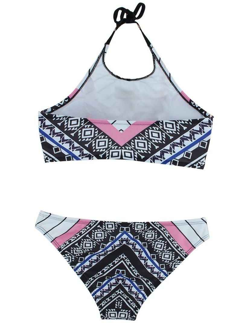 fb2592a89bc97 Women Swimming Geometric Pattern Bikini Swimsuit Bathing Suits Set White  XL Pattern