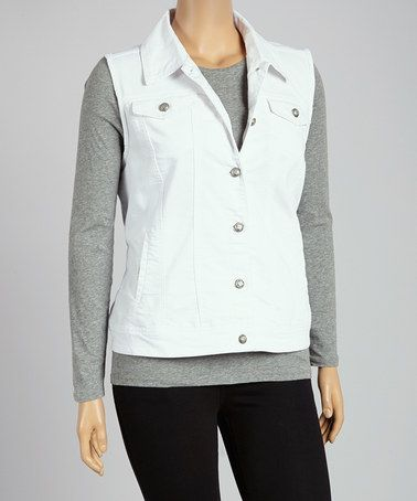 Another great find on #zulily! White Denim Button-Up Vest - Plus by Live A Little #zulilyfinds