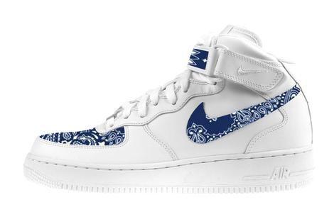 separation shoes cbafd aa0d5 Bandana Fever Navy Bandana Scarf Custom White Nike Air Force Mid Shoes – Bandana  Fever Designs