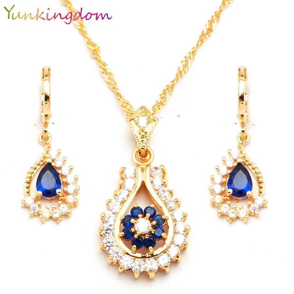 Yunkingdm trendy blue zircon crystal set de joyas para las mujeres