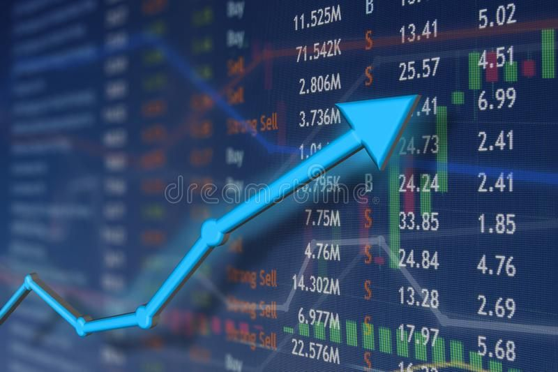 Stock Market Rise With Blue Arrow And Faded Candlestick Charts